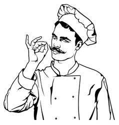 chef gesture delicious vector image