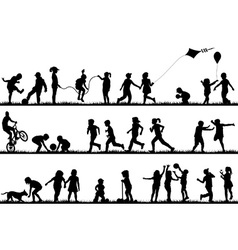 Children silhouettes playing outdoor vector image