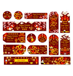 Chinese new year tag spring festival gift label vector