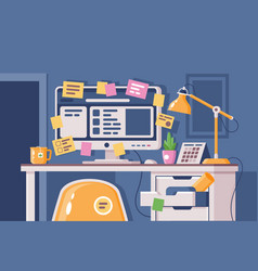 cluttered workplace with computer pasted over with vector image