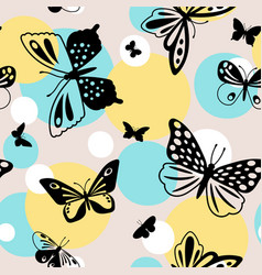 color butterflies seamless pattern vector image
