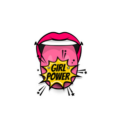 Comic text pop art tongue mouth girl power vector