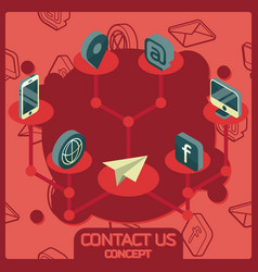 contact us color concept isometric icons vector image
