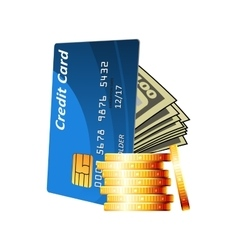 Credit card with cash and golden coins vector