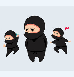 Cute cartoon ninja set vector