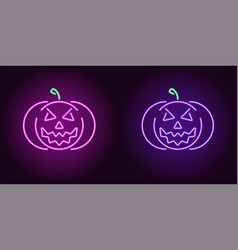 evil neon pumpkin in purple and violet color vector image