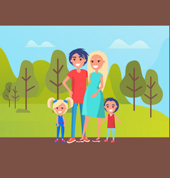 family spending time at park father and mother vector image