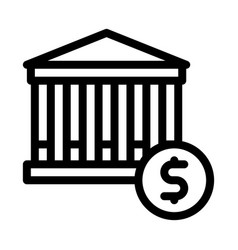 financial building and dollar coin icon vector image