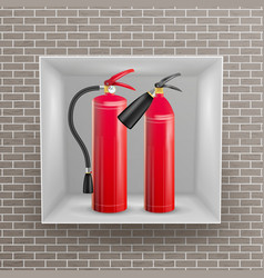 Fire extinguisher in brick wall niche vector