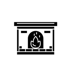 fireplace black icon sign on isolated vector image