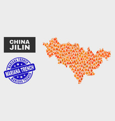 Flamed mosaic jilin province map and distress vector