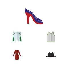 flat icon clothes set of clothes singlet heeled vector image