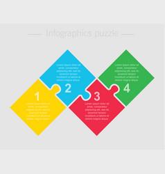 four steps parts pieces puzzle squares infographic vector image