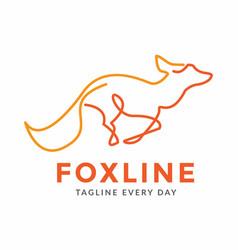 Fox line logo design template vector