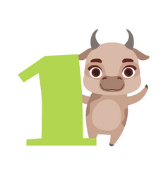 Funny cute cow animal and number one birthday vector