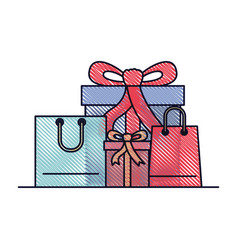 Gift boxes and shopping bags in colored crayon vector