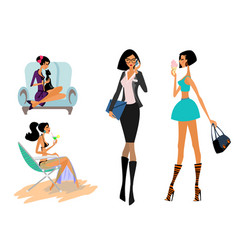 Girls in different situations vector