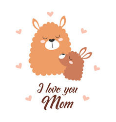 Greeting card for mothers day with llamas vector