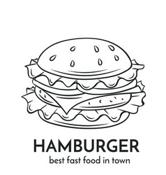Hand drawn hamburger icon vector