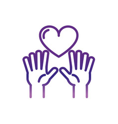 Hands with love heart charity help donation vector