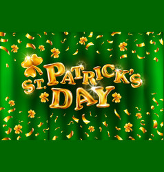 Happy st patricks day on green curtain background vector