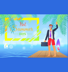 hot summer day colorful poster vector image