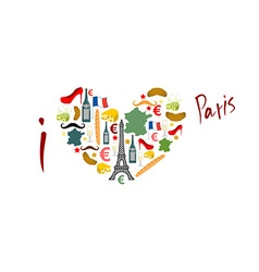 I Love Paris Traditional French national set of vector image