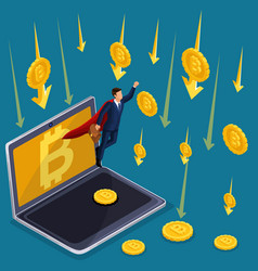 isometric business concept crypto currency bitcoin vector image