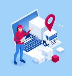Isometric logistics and delivery infographics vector