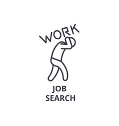 job search thin line icon sign symbol vector image