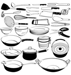 Kitchen tool utensil equipment doodle drawing vector