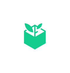 leaf box plant logo icon line art outline monoline vector image