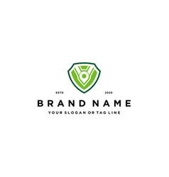 Letter v pin and shield logo design concept vector
