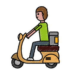 Man riding a scooter icon vector