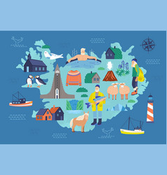 Map of iceland with touristic landmarks vector