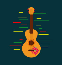 mexican gutiar flower music national decoration vector image