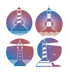 modern bright lighthouses emblems or logos vector image