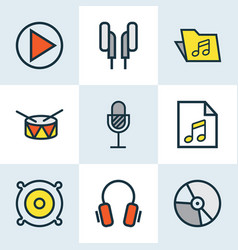 Music colored outlines set collection of list vector