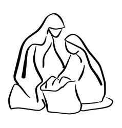 Nativity scene of baby jesus in manger with mary vector