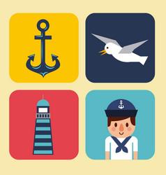Nautical design elements anchor wheel boat fish vector