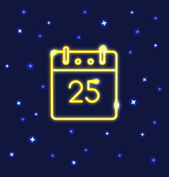 neon christmas calendar icon in line style vector image