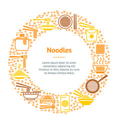 Noodle thin line banner card circle vector