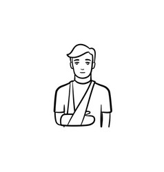 Patient with broken arm hand drawn outline doodle vector