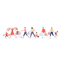 people crowd running for sale women and men vector image