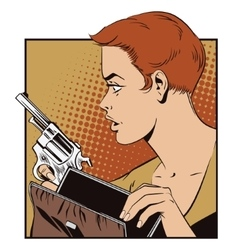 People in retro style Girl with a gun vector