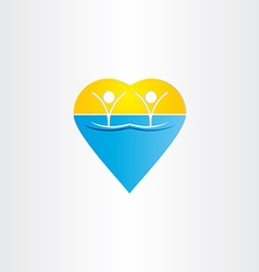 People in water heart icon vector