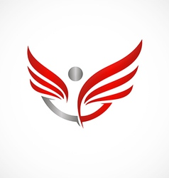 People success wing fly logo vector