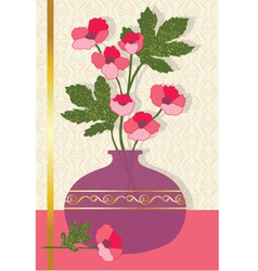 pink flowers in vase vector image
