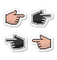 Pixel cursor poiting hands icons vector