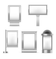 realistic detailed 3d blank white trade stand set vector image